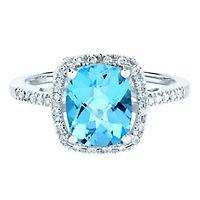 Blue Topaz & 1/8 ct. tw. Diamond Ring in 14K White Gold