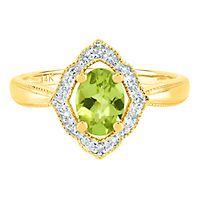 Peridot & Diamond Ring in 14K Yellow Gold