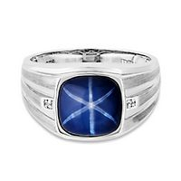 Men's Lab-Created Sapphire & Diamond Ring in Sterling Silver