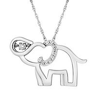 1/10 ct. tw. Diamond Elephant Pendant in Sterling Silver