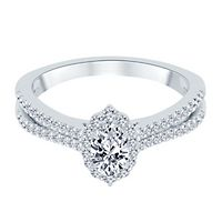 3/4 ct. tw. Diamond Oval Engagement Ring in 14K White Gold