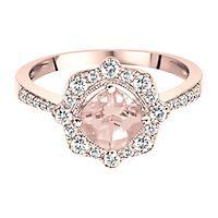 Morganite & 3/8 ct. tw. Diamond Ring in 14K Rose Gold
