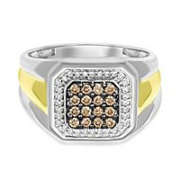 Men's 1/2 ct. tw. Champagne & White Diamond Ring in 10K Yellow Gold