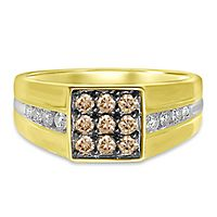 Men's 5/8 ct. tw. Champagne & White Diamond Ring in 10K Yellow Gold
