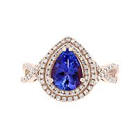 EFFY® Tanzanite & 3/8 ct. tw. Diamond Ring in 14K Rose Gold