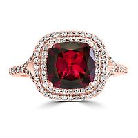 EFFY® Rhodolite Garnet & 3/8 ct. tw. Diamond Ring in 14K Rose Gold