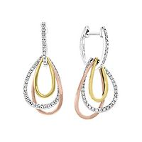 EFFY® 1/3 ct. tw. Diamond Tricolor Dangle Earrings in 14K Gold