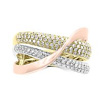 EFFY® 3/4 ct. tw. Diamond Tricolor Crossover Ring in 14K Gold