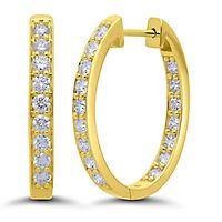1 1/2 ct. tw. Diamond Hoop Earrings in 14K Yellow Gold