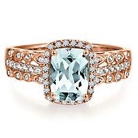 Aquamarine & 1/4 ct. tw. Diamond Ring in 10K Rose Gold