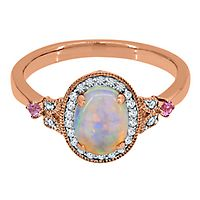 Lab-Created Opal, White & Pink Sapphire Ring in 10K Rose Gold