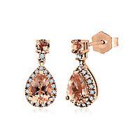 Morganite & 1/7 ct. tw. Diamond Earrings in 10K Rose Gold