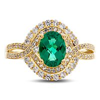Lab-Created Emerald & White Sapphire Oval Ring in 10K Yellow Gold