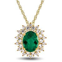 Lab-Created Emerald & White Sapphire Oval Pendant in 10K Yellow Gold