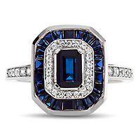 Lab-Created Blue & White Sapphire Halo Ring in Sterling Silver