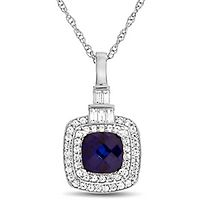 Lab-Created Blue & White Sapphire Pendant in Sterling Silver