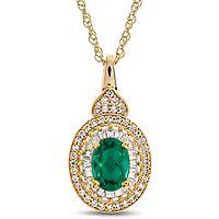 Emerald & 1/3 ct. tw. Diamond Pendant in 10K Yellow Gold