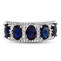 Sapphire & 1/3 ct. tw. Diamond Ring in 14K White Gold