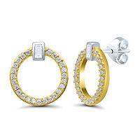 1/5 ct. tw. Diamond Circle Earrings in 10K Yellow Gold