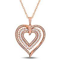1/2 ct. tw. Diamond Heart Pendant in 10K Rose Gold