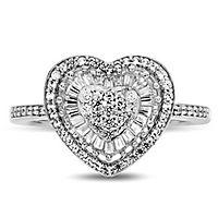 1/2 ct. tw. Diamond Heart Ring in 10K White Gold