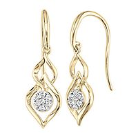 1/10 ct. tw. Diamond Drop Earrings in 10K Yellow Gold
