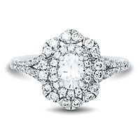 1 ct. tw. Diamond Halo Oval Engagement Ring in 14K White Gold