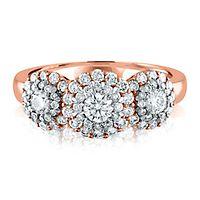 1 ct. tw. Diamond Three-Stone Ring in 14K Rose Gold