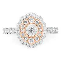 Radiant Star® 1 ct. tw. Diamond Engagement Ring in 14K White & Rose Gold