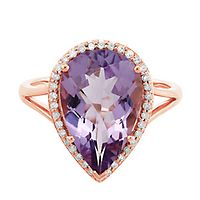 Rose de France Amethyst & 1/8 ct. tw. Diamond Ring in 10K Rose Gold