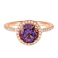 Rose de France Amethyst & 1/4 ct. tw. Diamond Ring in 14K Rose Gold