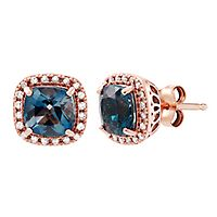 London Blue Topaz & 1/10 ct. tw. Diamond Stud Earrings in 10K Rose Gold