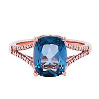 London Blue Topaz & 1/10 ct. tw. Diamond Ring in 10K Rose Gold