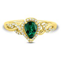 Emerald & 1/10 ct. tw. Diamond Ring in 10K Yellow Gold