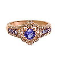 Tanzanite & 1/5 ct. tw. Diamond Ring in 10K Rose Gold