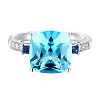 Blue Topaz, Sapphire & Diamond Ring in 10K White Gold