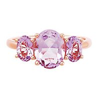 Rose de France Amethyst & Diamond Ring in 14K Rose Gold