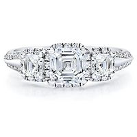 Royal Asscher® 1 1/2 ct. tw. Diamond Three-Stone Engagement Ring in 14K White Gold
