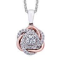 1/2 ct. tw. Diamond Pendant in 10K White & Rose Gold