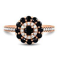 1 ct. tw. Black & White Diamond Halo Ring in 10K Rose Gold