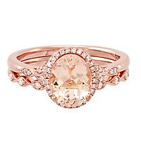Morganite & 1/7 ct. tw. Diamond Engagement Ring Set in 14K Rose Gold