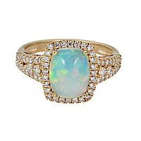 Ethiopian Opal & 1/2 ct. tw. Diamond Ring in 14K Yellow Gold