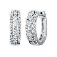 1 ct. tw. Diamond Hoop Earrings in 14K White Gold
