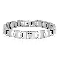 Men's 1/10 ct. tw. Diamond Link Bracelet in Stainless Steel