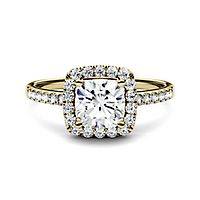 Forever One® 1 3/8 ct. tw. Moissanite Halo Ring in 14K Yellow Gold