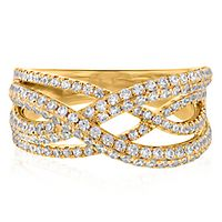 1 ct. tw. Diamond Crossover Ring in 10K Yellow Gold