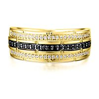 Men's 3/8 ct. tw. Black & White Diamond Ring in 10K Yellow Gold