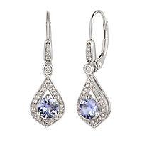 Tanzanite & 1/5 ct. tw. Diamond Drop Earrings in 10K White Gold