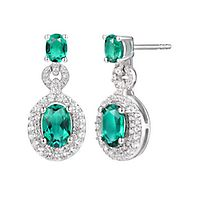 Lab-Created Emerald & White Sapphire Drop Earrings in Sterling Silver