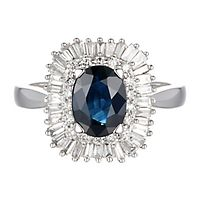 Helzberg Limited Edition® Sapphire & 1/2 ct. tw. Diamond Ring in 14K White Gold